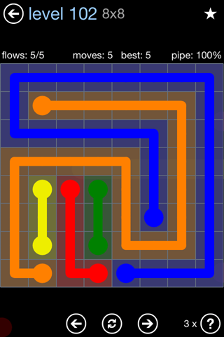 Solution and Answer to the Puzzle for Flow Rainbow Pack Set 5x5 Level 102