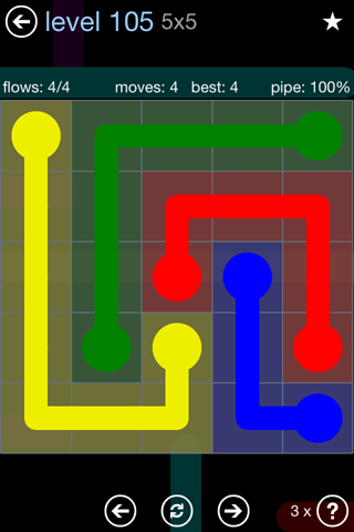 Solution and Answer to the Puzzle for Flow Rainbow Pack Set 5x5 Level 105
