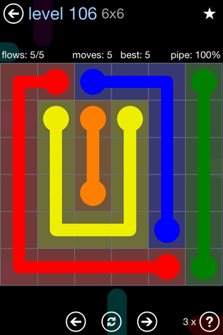 Solution and Answer to the Puzzle for Flow Rainbow Pack Set 5x5 Level 106