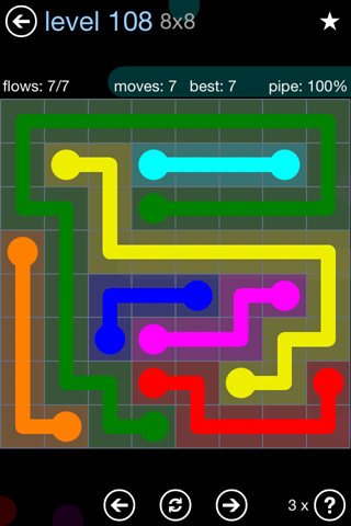Solution and Answer to the Puzzle for Flow Rainbow Pack Set 5x5 Level 108