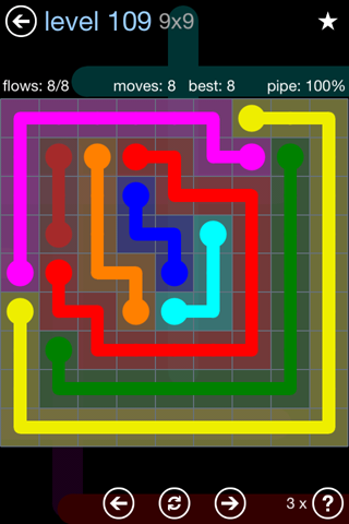 Solution and Answer to the Puzzle for Flow Rainbow Pack Set 5x5 Level 109