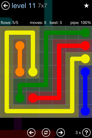 Solution and Answer to the Puzzle for Flow Rainbow Pack Set 5x5 Level 11