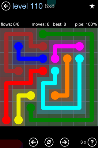 Solution and Answer to the Puzzle for Flow Rainbow Pack Set 5x5 Level 110
