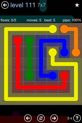 Solution and Answer to the Puzzle for Flow Rainbow Pack Set 5x5 Level 111
