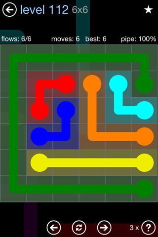 Solution and Answer to the Puzzle for Flow Rainbow Pack Set 5x5 Level 112