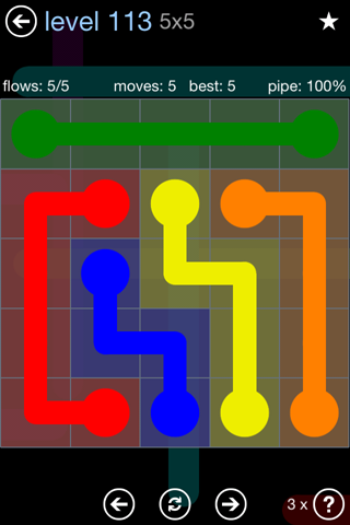 Solution and Answer to the Puzzle for Flow Rainbow Pack Set 5x5 Level 113