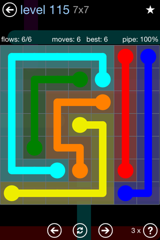 Solution and Answer to the Puzzle for Flow Rainbow Pack Set 5x5 Level 115