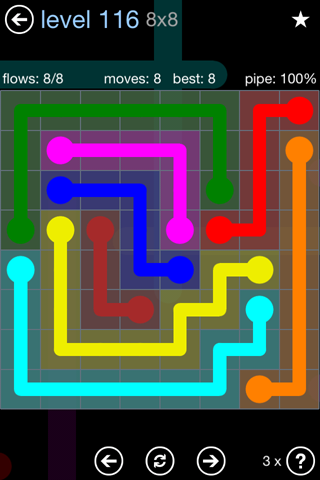 Solution and Answer to the Puzzle for Flow Rainbow Pack Set 5x5 Level 116