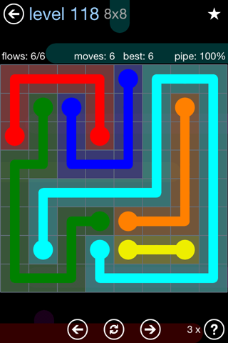 Solution and Answer to the Puzzle for Flow Rainbow Pack Set 5x5 Level 118