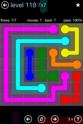 Solution and Answer to the Puzzle for Flow Rainbow Pack Set 5x5 Level 119