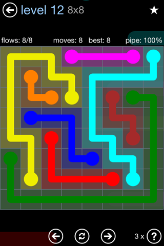 Solution and Answer to the Puzzle for Flow Rainbow Pack Set 5x5 Level 12