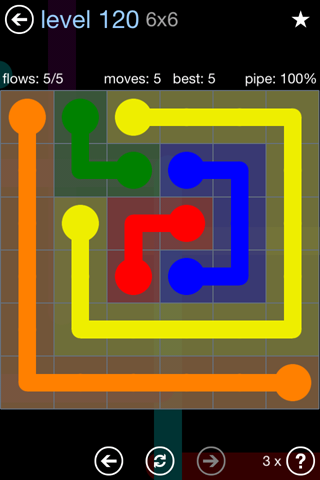 Solution and Answer to the Puzzle for Flow Rainbow Pack Set 5x5 Level 120