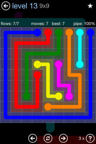 Solution and Answer to the Puzzle for Flow Rainbow Pack Set 5x5 Level 13
