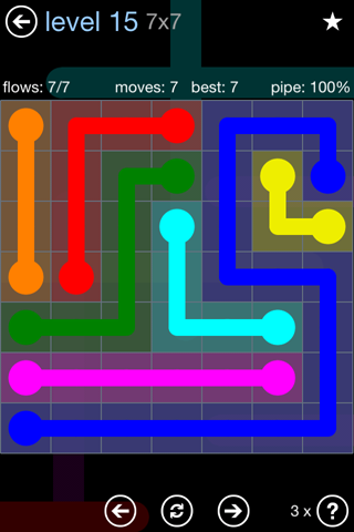 Solution and Answer to the Puzzle for Flow Rainbow Pack Set 5x5 Level 15