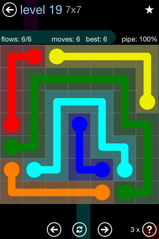 Solution and Answer to the Puzzle for Flow Rainbow Pack Set 5x5 Level 19