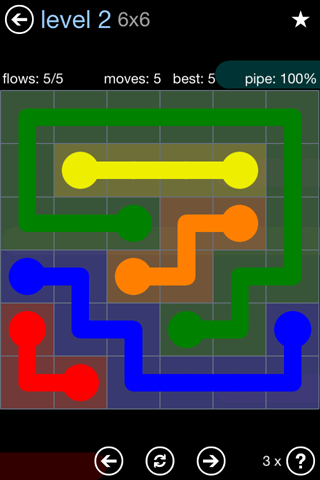 Solution and Answer to the Puzzle for Flow Rainbow Pack Set 5x5 Level 2