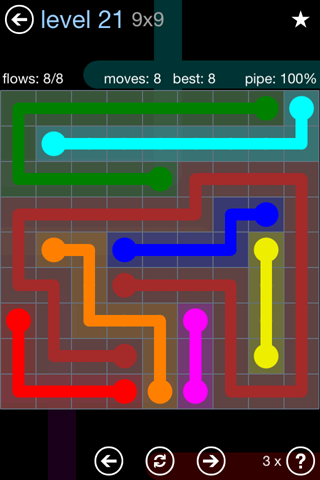 Solution and Answer to the Puzzle for Flow Rainbow Pack Set 5x5 Level 21