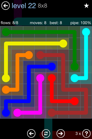 Solution and Answer to the Puzzle for Flow Rainbow Pack Set 5x5 Level 22