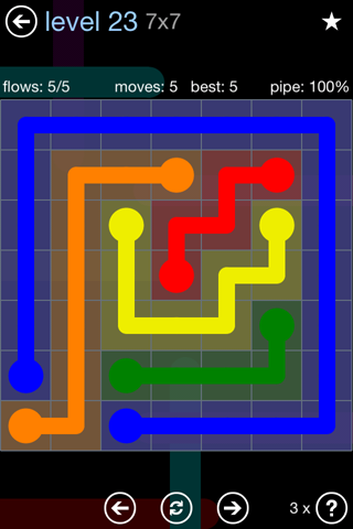 Solution and Answer to the Puzzle for Flow Rainbow Pack Set 5x5 Level 23