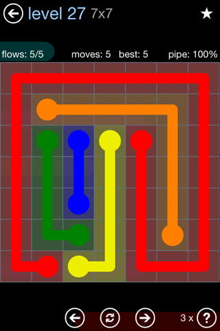 Solution and Answer to the Puzzle for Flow Rainbow Pack Set 5x5 Level 27