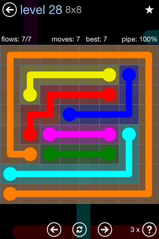 Solution and Answer to the Puzzle for Flow Rainbow Pack Set 5x5 Level 28
