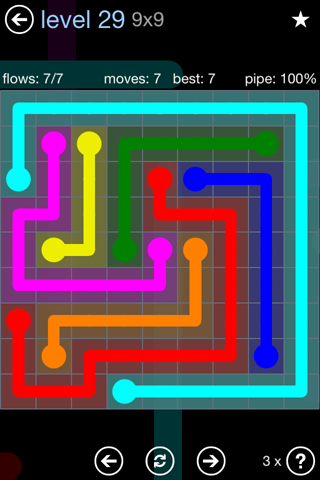 Solution and Answer to the Puzzle for Flow Rainbow Pack Set 5x5 Level 29