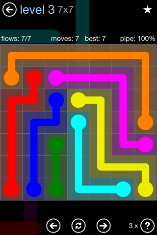 Solution and Answer to the Puzzle for Flow Rainbow Pack Set 5x5 Level 3