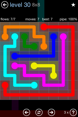 Solution and Answer to the Puzzle for Flow Rainbow Pack Set 5x5 Level 30