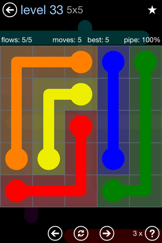 Solution and Answer to the Puzzle for Flow Rainbow Pack Set 5x5 Level 33