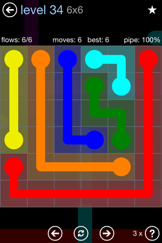 Solution and Answer to the Puzzle for Flow Rainbow Pack Set 5x5 Level 34