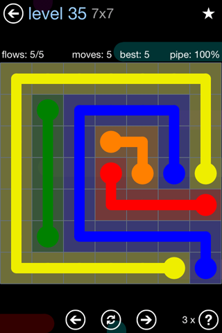 Solution and Answer to the Puzzle for Flow Rainbow Pack Set 5x5 Level 35