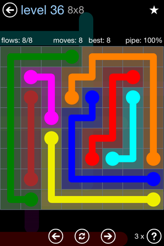 Solution and Answer to the Puzzle for Flow Rainbow Pack Set 5x5 Level 36