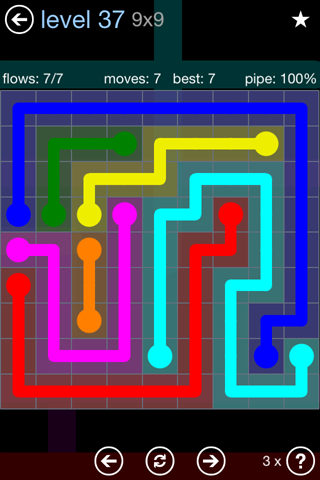 Solution and Answer to the Puzzle for Flow Rainbow Pack Set 5x5 Level 37