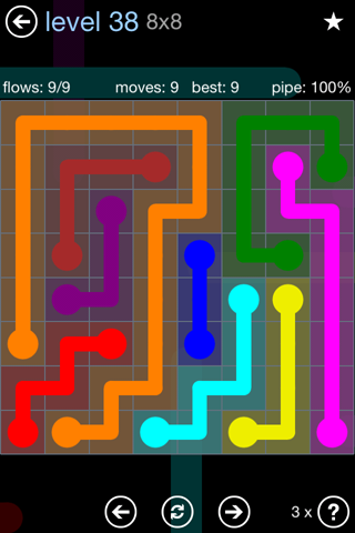 Solution and Answer to the Puzzle for Flow Rainbow Pack Set 5x5 Level 38