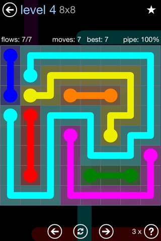 Solution and Answer to the Puzzle for Flow Rainbow Pack Set 5x5 Level 4