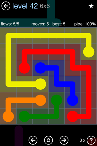 Solution and Answer to the Puzzle for Flow Rainbow Pack Set 5x5 Level 42