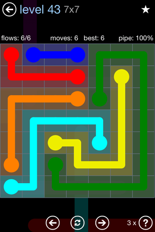 Solution and Answer to the Puzzle for Flow Rainbow Pack Set 5x5 Level 43