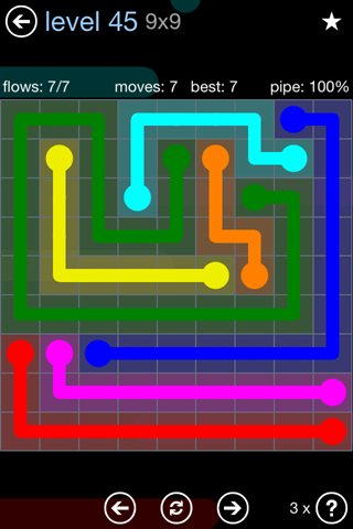 Solution and Answer to the Puzzle for Flow Rainbow Pack Set 5x5 Level 45