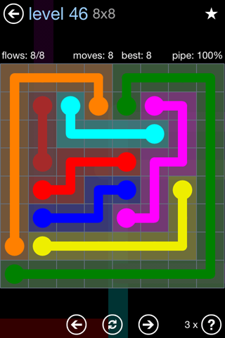 Solution and Answer to the Puzzle for Flow Rainbow Pack Set 5x5 Level 46