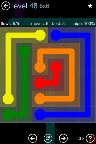 Solution and Answer to the Puzzle for Flow Rainbow Pack Set 5x5 Level 48