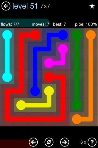 Solution and Answer to the Puzzle for Flow Rainbow Pack Set 5x5 Level 51