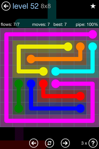 Solution and Answer to the Puzzle for Flow Rainbow Pack Set 5x5 Level 52