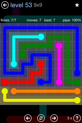 Solution and Answer to the Puzzle for Flow Rainbow Pack Set 5x5 Level 53