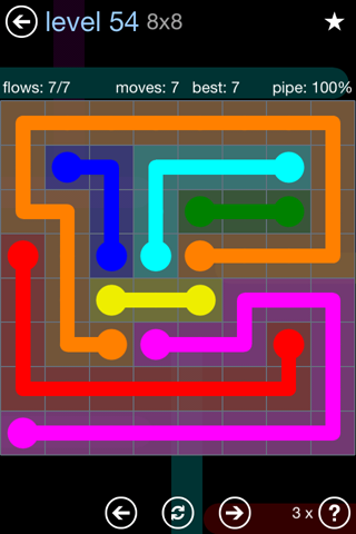 Solution and Answer to the Puzzle for Flow Rainbow Pack Set 5x5 Level 54