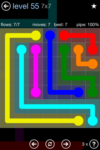 Solution and Answer to the Puzzle for Flow Rainbow Pack Set 5x5 Level 55