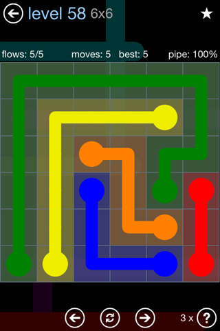 Solution and Answer to the Puzzle for Flow Rainbow Pack Set 5x5 Level 58