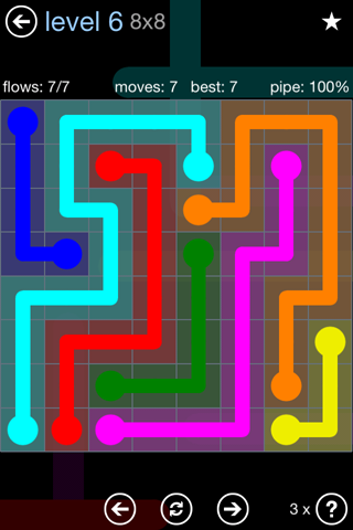 Solution and Answer to the Puzzle for Flow Rainbow Pack Set 5x5 Level 6