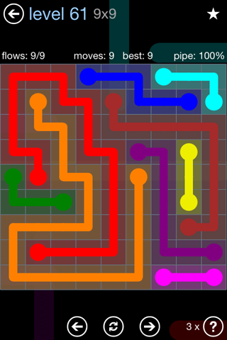 Solution and Answer to the Puzzle for Flow Rainbow Pack Set 5x5 Level 61