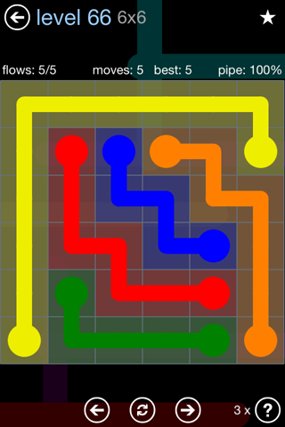 Solution and Answer to the Puzzle for Flow Rainbow Pack Set 5x5 Level 66