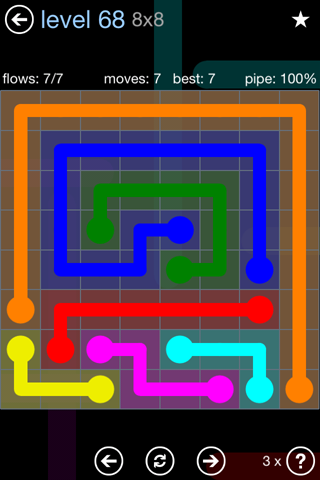 Solution and Answer to the Puzzle for Flow Rainbow Pack Set 5x5 Level 68